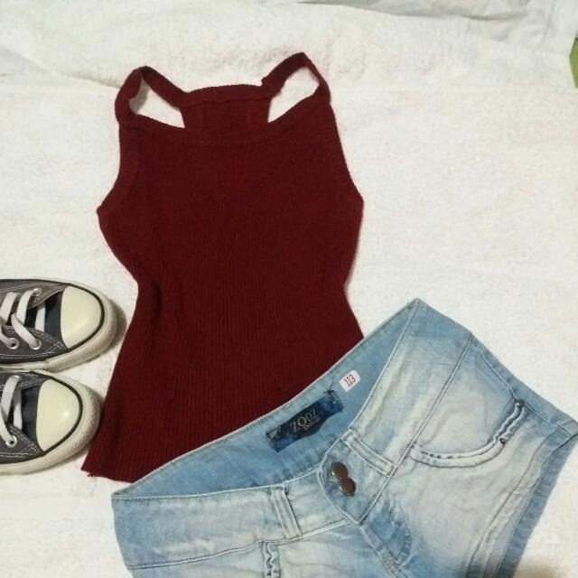 Repriced Maroon Sleeveles Top Knitted