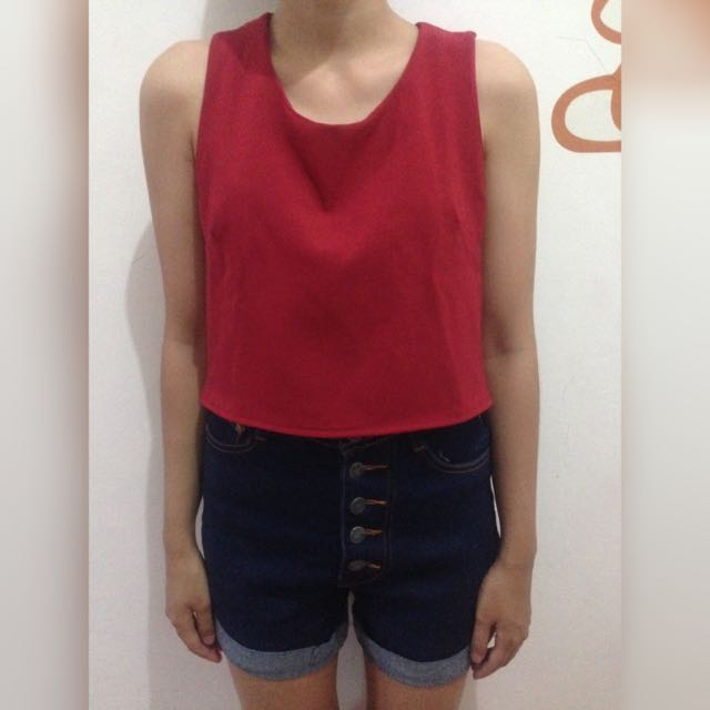 Red Crop Top + Nudie Jeans