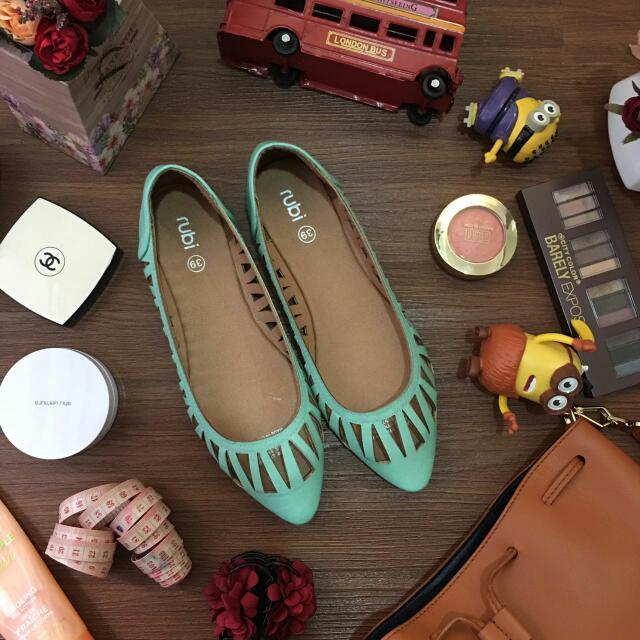 Rubi Green Flat Shoes