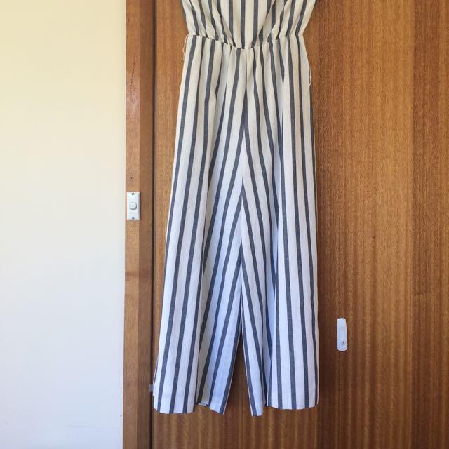 Seed Linen/cotton Jumpsuit Cropped Wide Leg