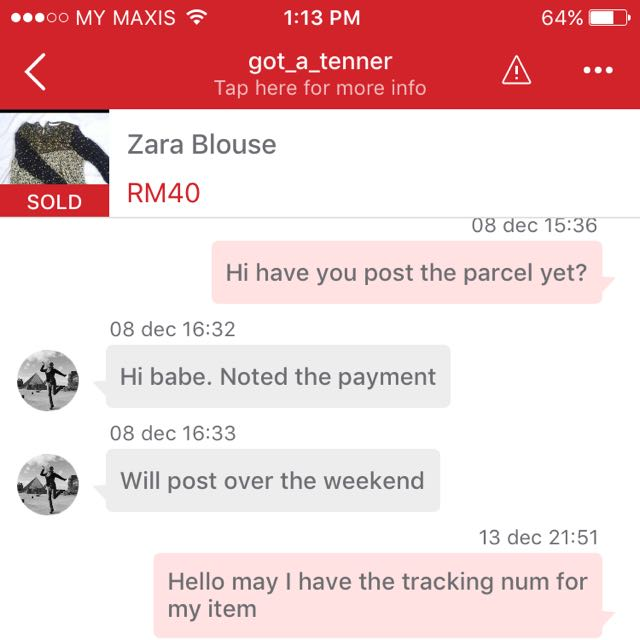 Scammer Seller Went MIA