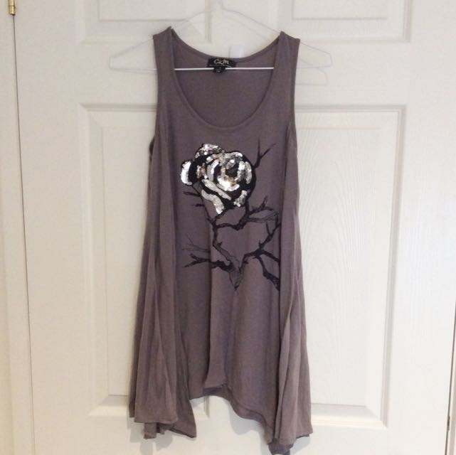 Silver Sparkly Rose Top