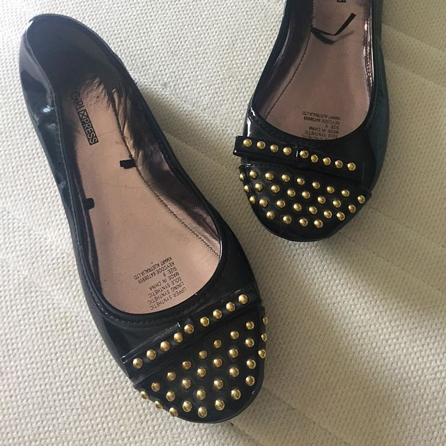 Stud Black Ballet Flats