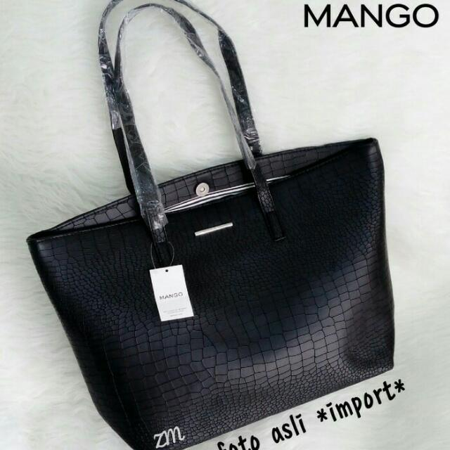 Tas Croco Mango - Totebag Fashion Black