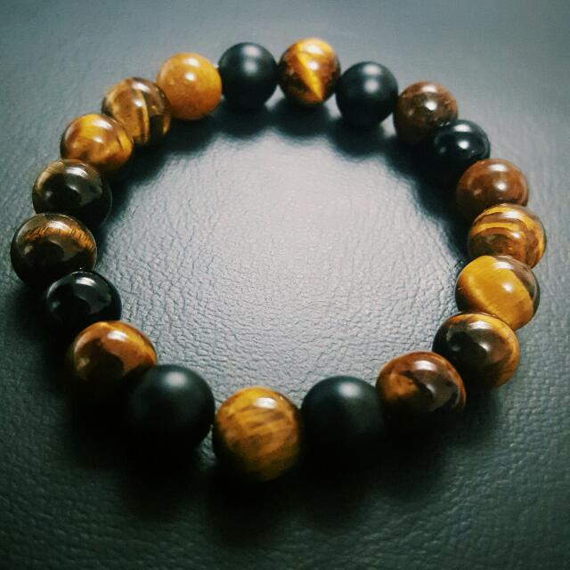 Tigers Eye, Agate and Matte Stone Bracelet