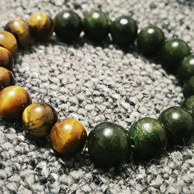 Tigers Eye and Jade Stone Bracelet