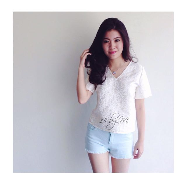 White Jaquard Top By 13byM