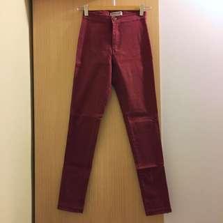 🍁25腰秋冬酒紅高腰skinny jeans