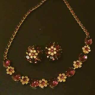 特價Vintage Coro 紫色花朵 萊茵項鍊耳環
