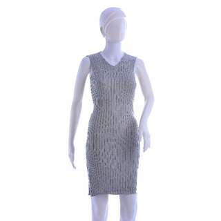 #38 V Neck Tied Detail Knitted Bodycon Dress with Slit (Gray)