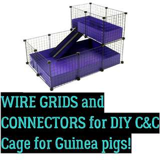 [BN]WIRE GRIDS And CONNECTORS for DIY C&C Cage For Guinea Pigs, Or Any Other Purpose Like STORAGE SHELF, Hanging Grids