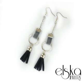 Black Grey Statement Earrings