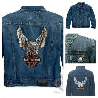 Harley-Davidson Mens Eagle B&S Denim Blue Casual Jacket