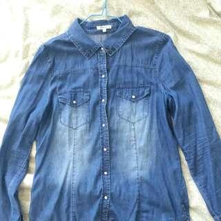 Denim Chambray Button-Up Top AUS Size 12