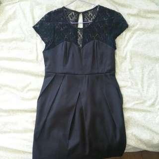 Sweetheart Lace-Detail Little Black Dress