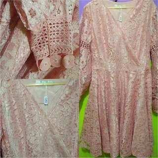 Dress Brokat QiQi (Peach)