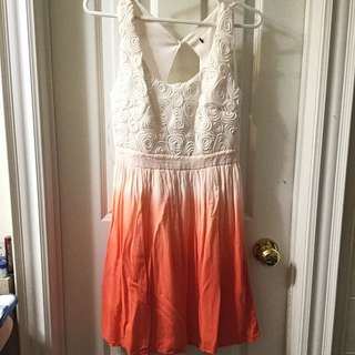 White/Orange Ombre Dress