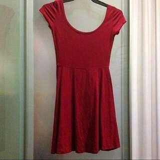 Maroon Skater Dress