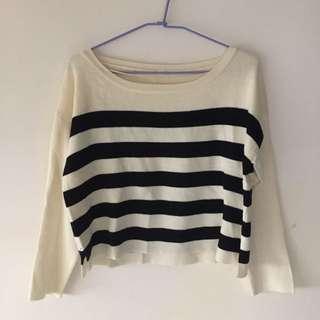 轉賣 gu 寬版 配色 橫條紋 短版 柔軟 針織上衣 毛衣 uniqlo#歲末感恩出清