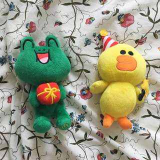 McDonald's LINE Plush Collectibles, Sally and Leonard (Duck And Frog)