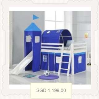 Castle Bed With Slide For Boys