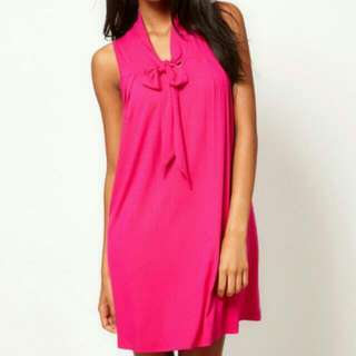 Brand New! Hot Pink ASOS Swing Dress With Neck Tie