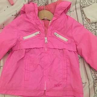 DKNY Baby Girl 6months Fluro pink Rain Coat