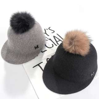 Pita歐美M字街拍羊毛馬術帽大球球可拆可調頭圍預購品實拍