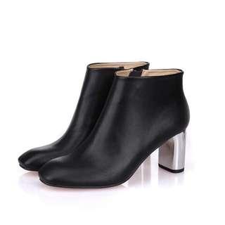 Pita's歐美率性街頭性感街拍風格銀色金屬粗跟真皮方頭踝靴短靴預購品35-41號