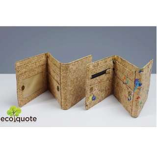 EcoQuote Tri Fold Wallet Handmade Cork Material