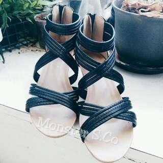 波西米亞風👡低跟涼鞋