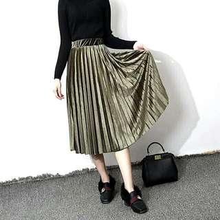 Including Postage Pleated Skirt Army Green Metalic Midi Skirt Long Skirt