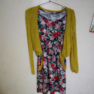 FLOWER DRESS WITH GREEN OUTER