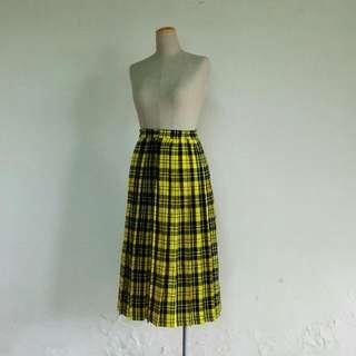 黃黑格紋 鬆緊百褶裙