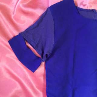 101 New York Blue Cutout Sleeve Shirt
