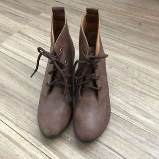 咖啡色暈染皮革短靴 24號