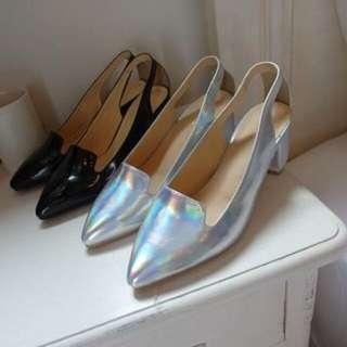 正韓超美氣質金屬光澤銀色高跟鞋24
