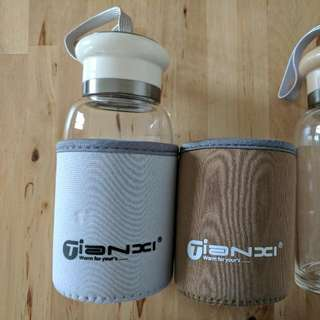 Couple Glass Water Bottle Hot/Cold Drinks