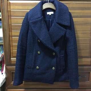 寶藍色軍裝鈕釦暖外套