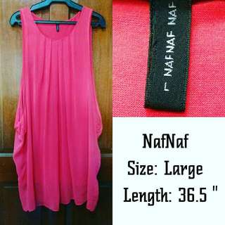 NafNaf salmon pink sheer dress with bodycon lining