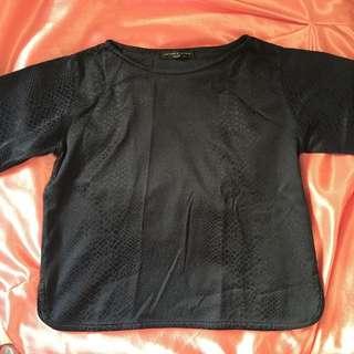 Seventy Seven Navy Blue Textured Boxy Shirt