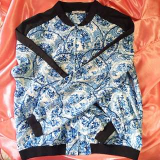Cotton On Blue and White Patterned Bomber Jacket