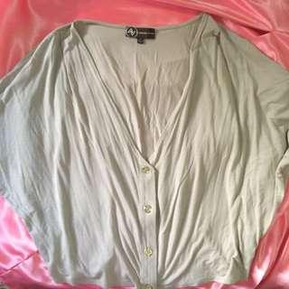 Adrienne Vittadini Flowy Beige Buttondown Bolero/Kimono