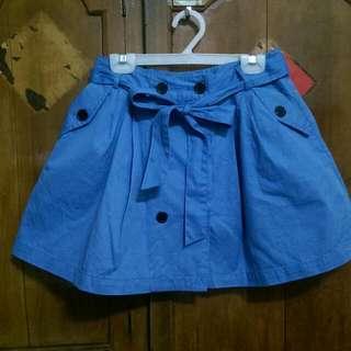 藍色排扣短裙