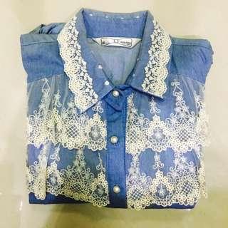 [正韓]氣質蕾絲丹寧襯衫