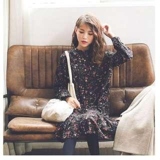 D8621#春韓時尚-碎花荷葉邊長袖連衣裙 XL 2XL 3XL 4XL 5XL