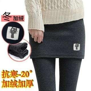 韓版貓咪假兩件式加厚褲裙
