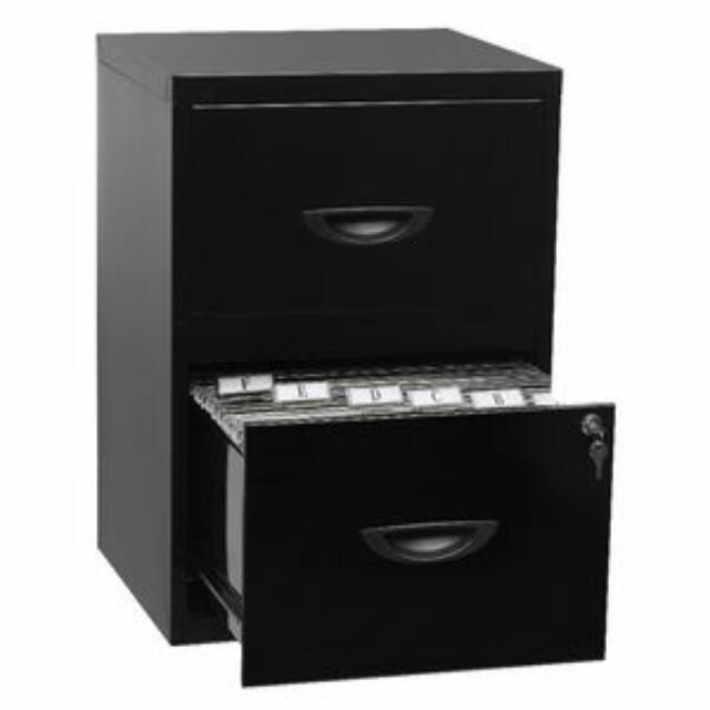 2 Drawer Cabinet, black Drawer with lock
