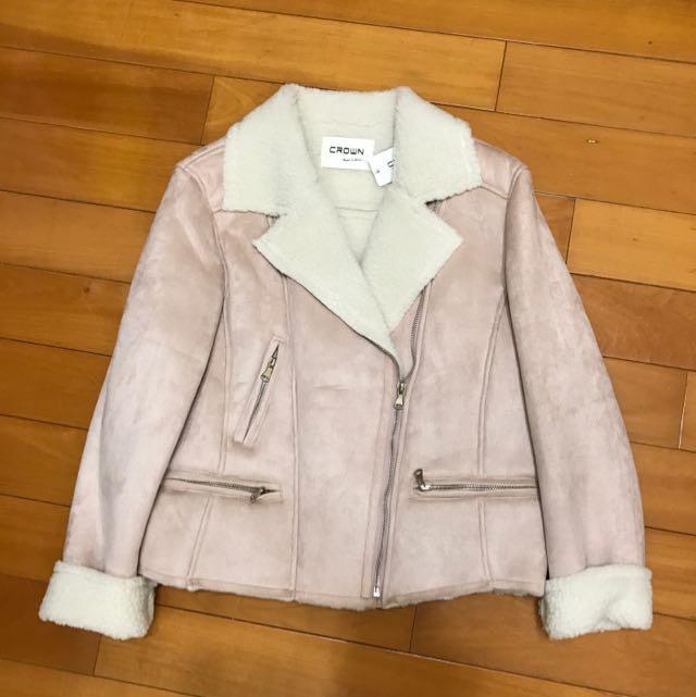 皮毛一體粉色機車夾克