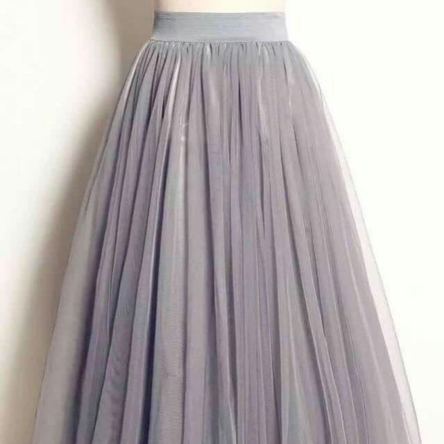 三層灰色紗裙